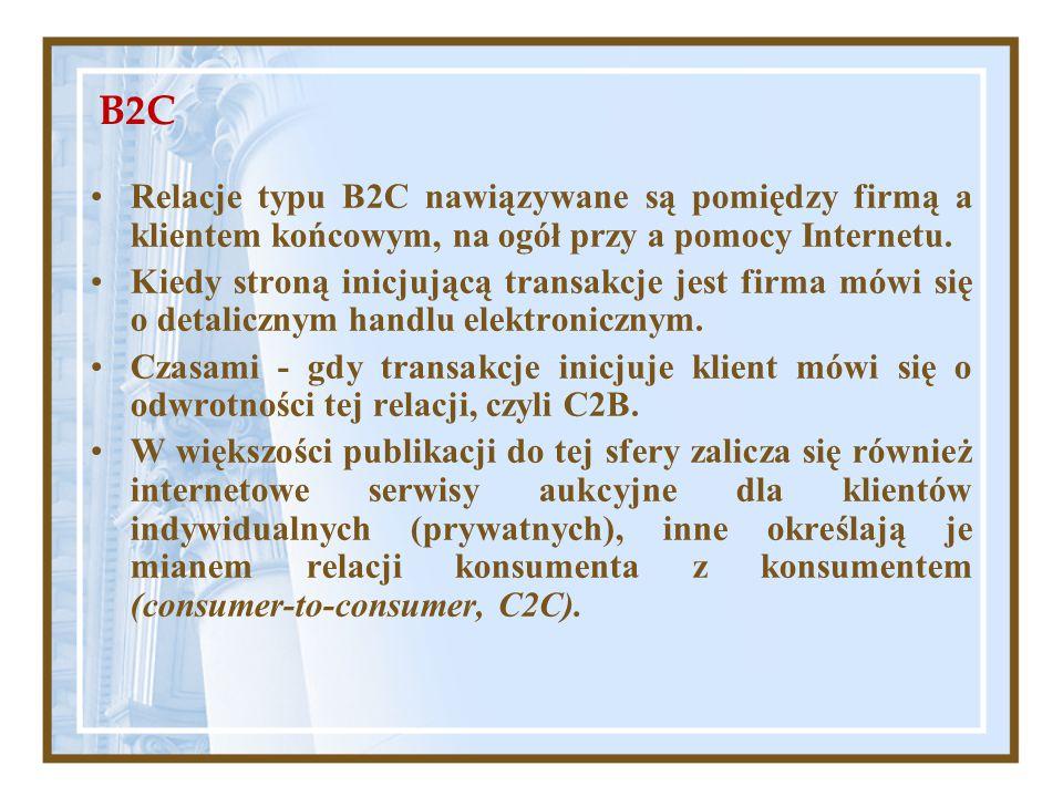 B2C Relacje typu B2C nawiązywane są pomiędzy firmą a klientem końcowym, na ogół przy a pomocy Internetu.