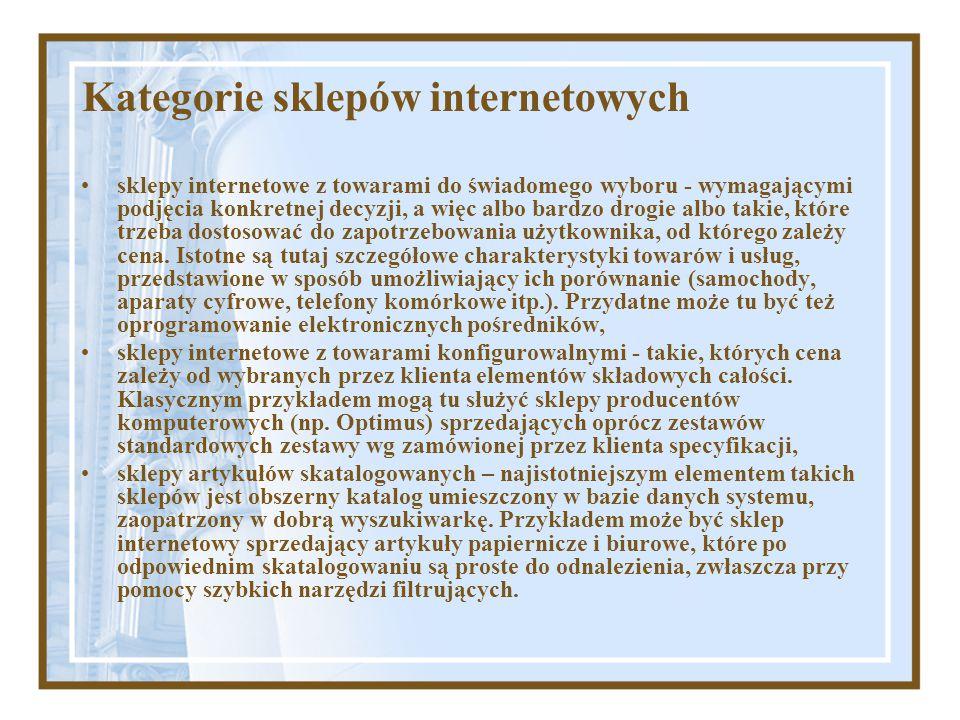 Kategorie sklepów internetowych