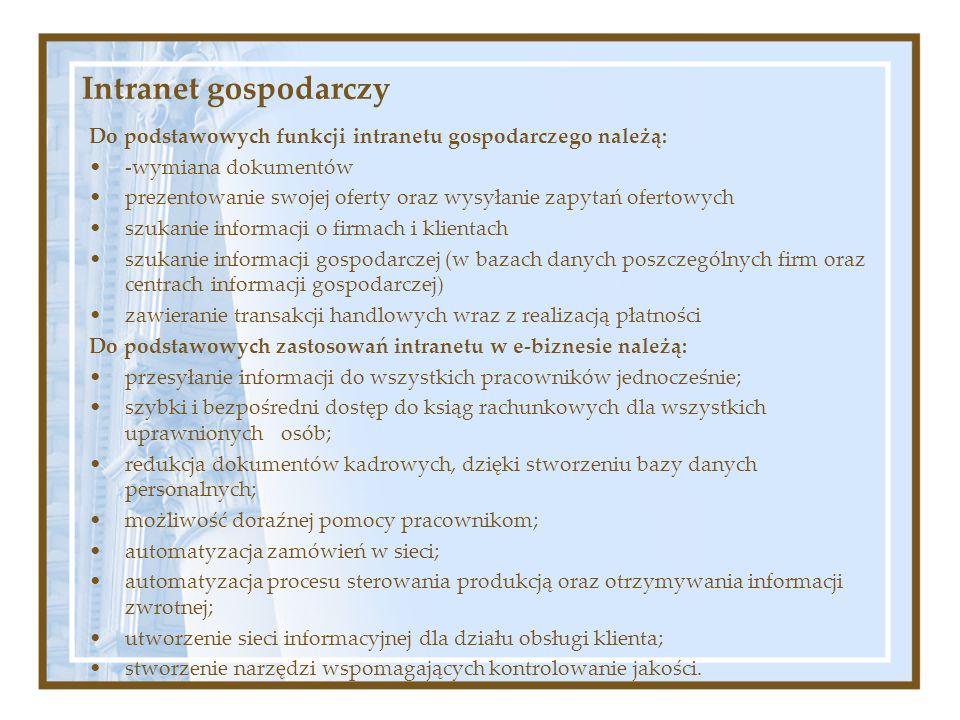 Intranet gospodarczy Do podstawowych funkcji intranetu gospodarczego należą: -wymiana dokumentów.