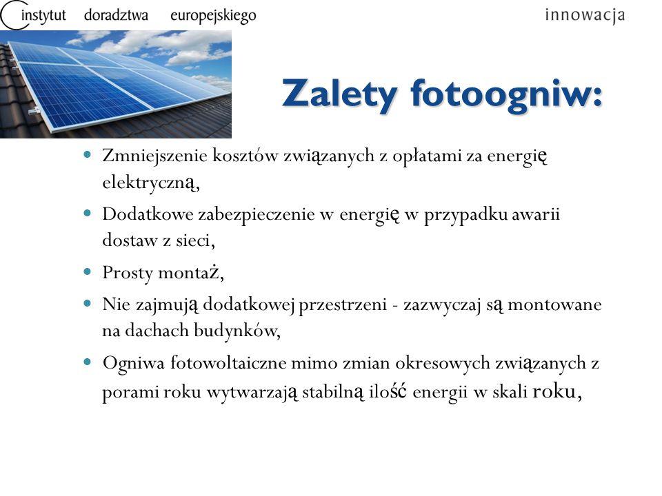 Zalety fotoogniw: Zmniejszenie kosztów związanych z opłatami za energię elektryczną,