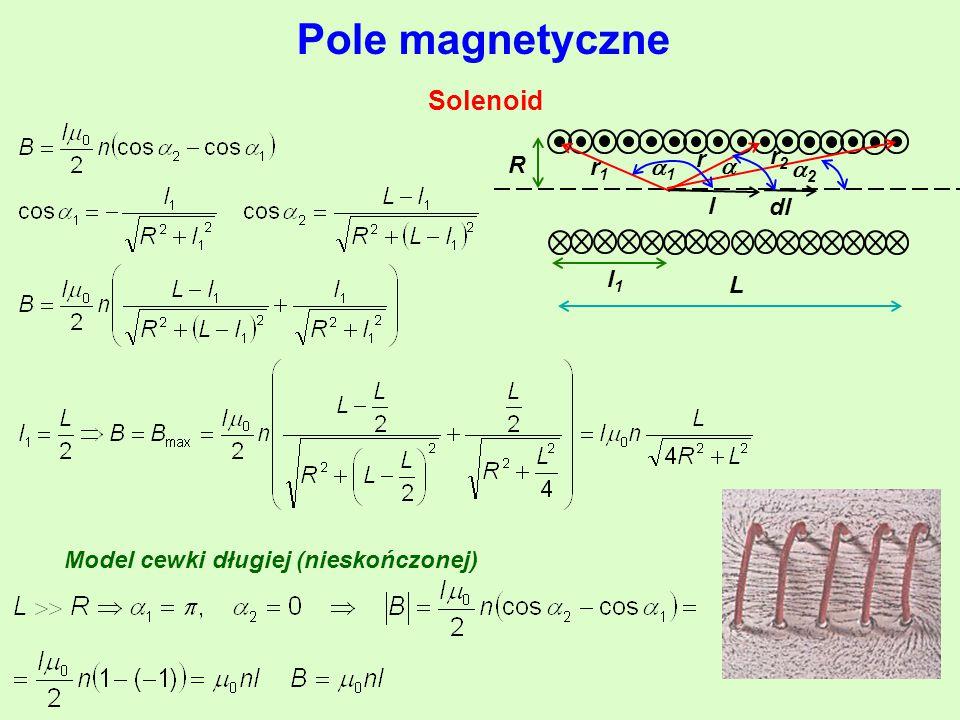 Pole magnetyczne Solenoid r r2 r1 1 l R dl L l1  2