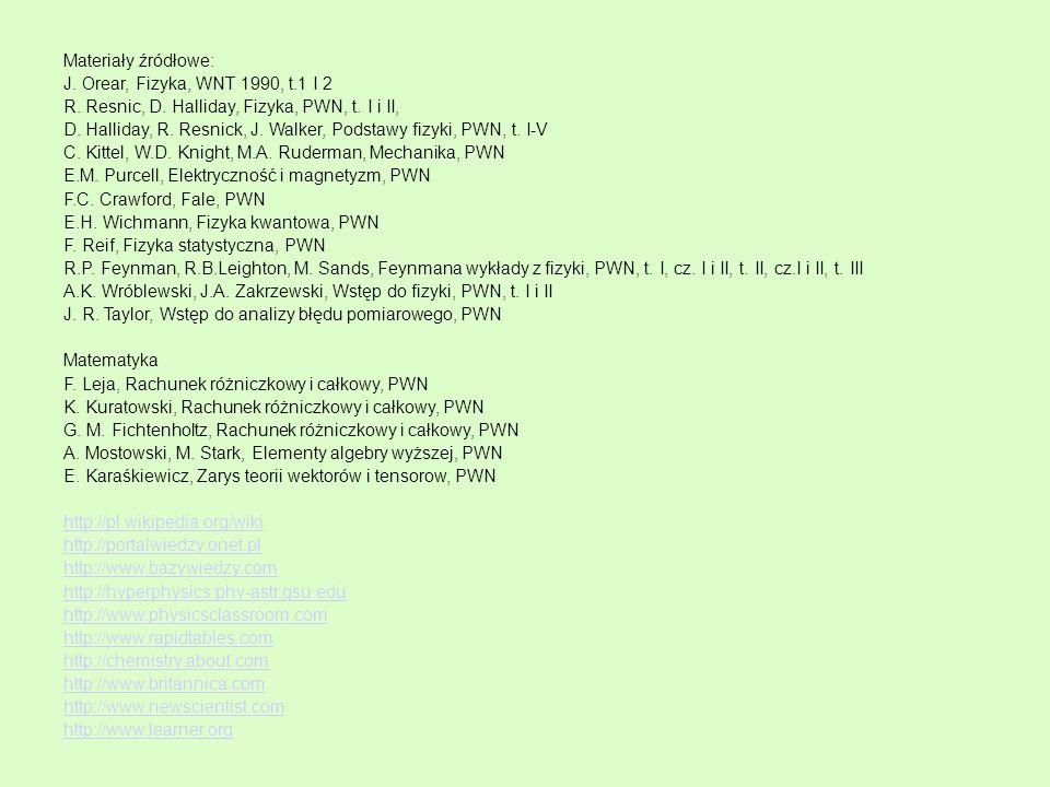 Materiały źródłowe: J. Orear, Fizyka, WNT 1990, t.1 I 2. R. Resnic, D. Halliday, Fizyka, PWN, t. I i II,