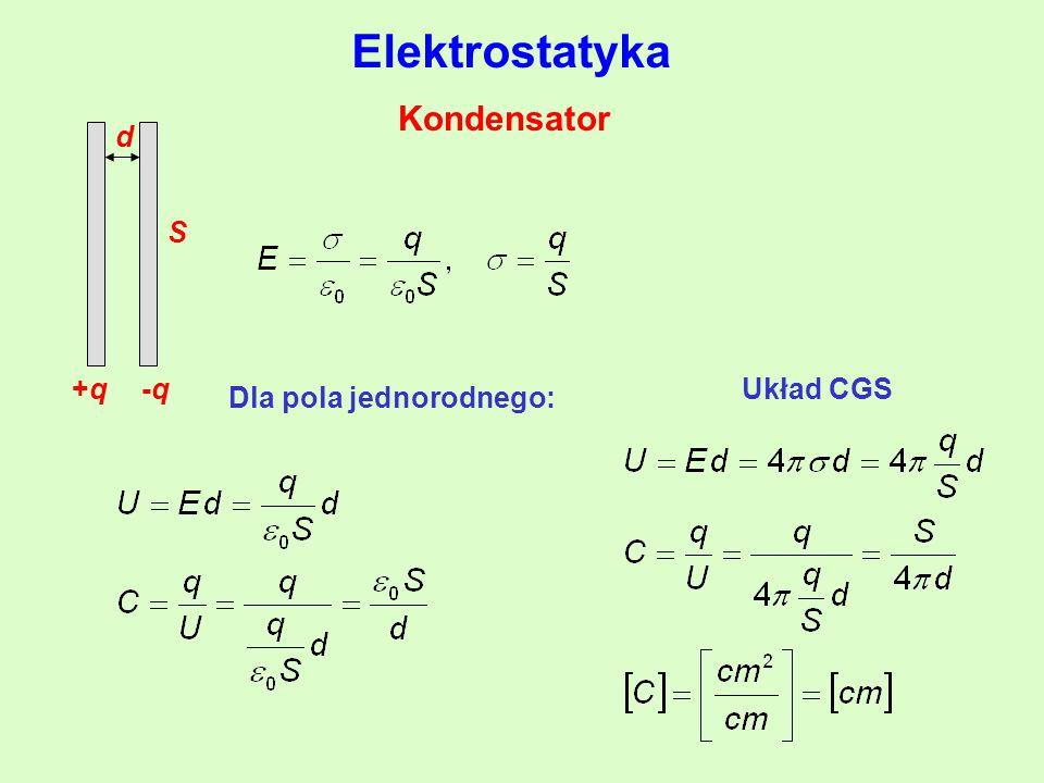 Elektrostatyka Kondensator +q -q d S Układ CGS Dla pola jednorodnego:
