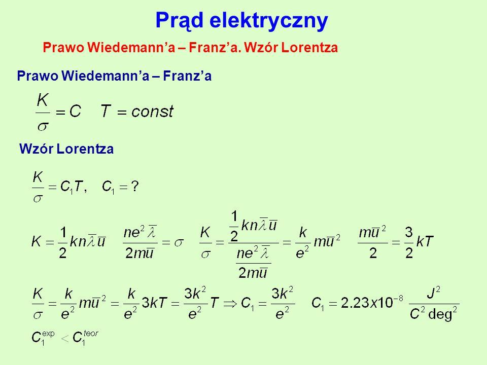Prawo Wiedemann'a – Franz'a. Wzór Lorentza Prawo Wiedemann'a – Franz'a