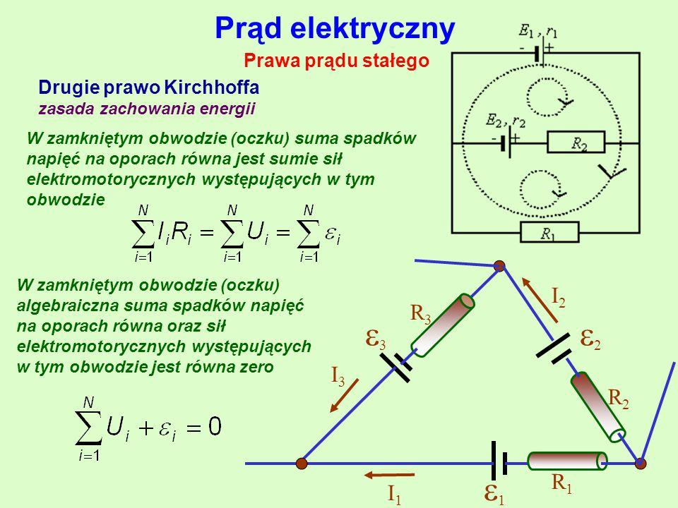 1 2 3 Prąd elektryczny I2 R3 I3 R2 R1 I1 Prawa prądu stałego