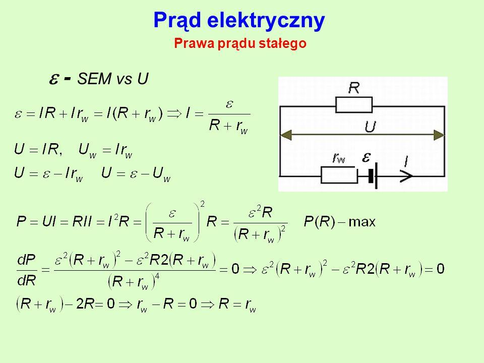 Prąd elektryczny Prawa prądu stałego  - SEM vs U 