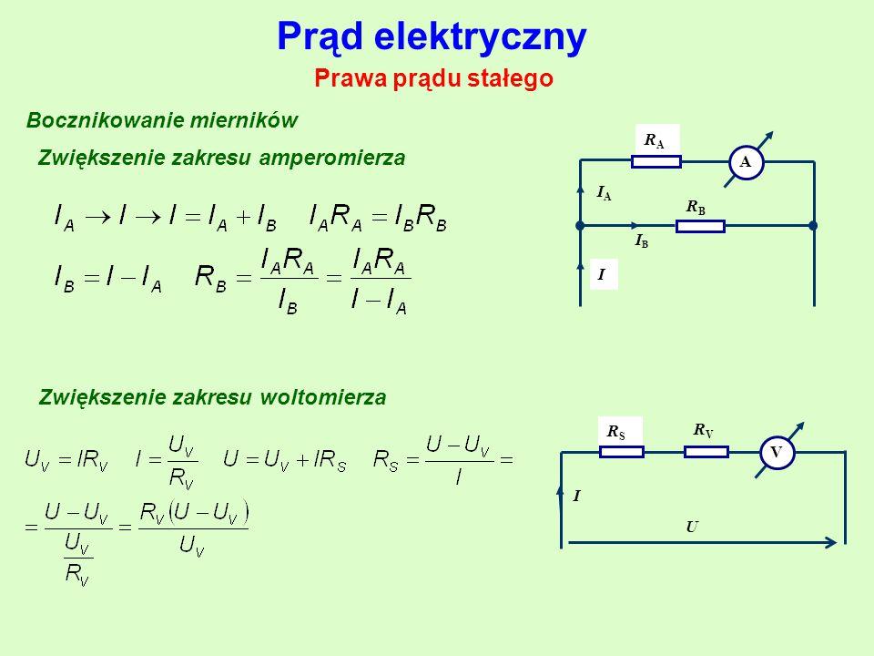Prąd elektryczny Prawa prądu stałego Bocznikowanie mierników