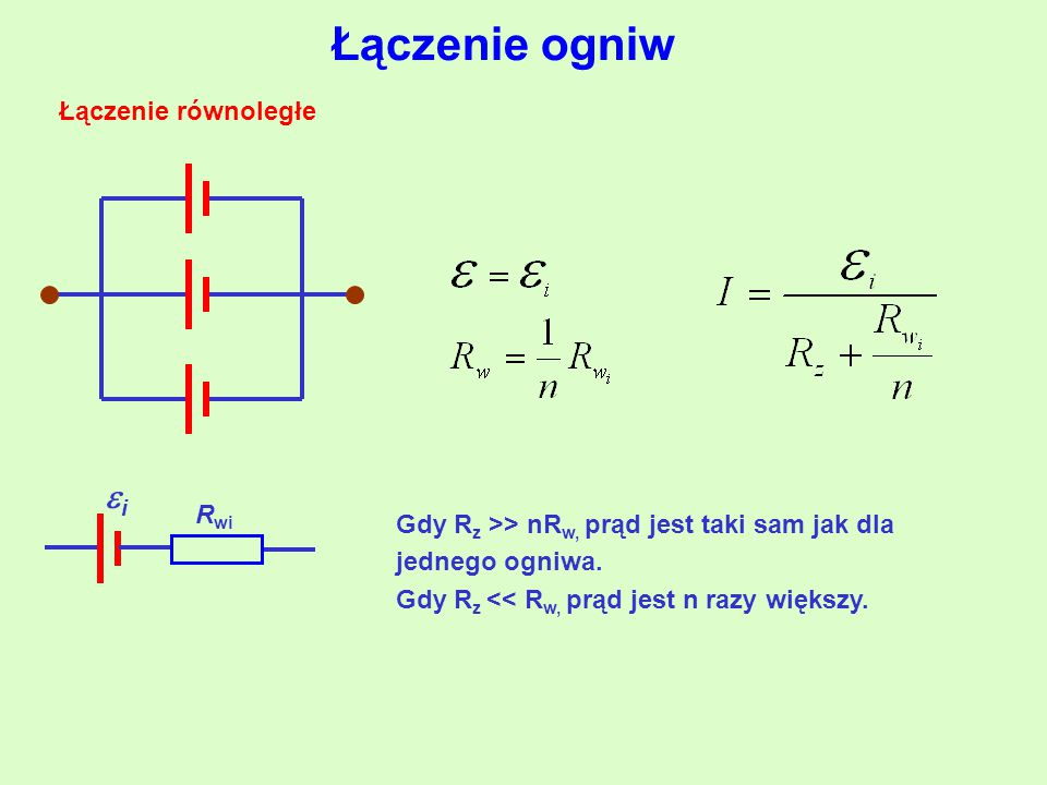 Łączenie ogniw i Łączenie równoległe Rwi