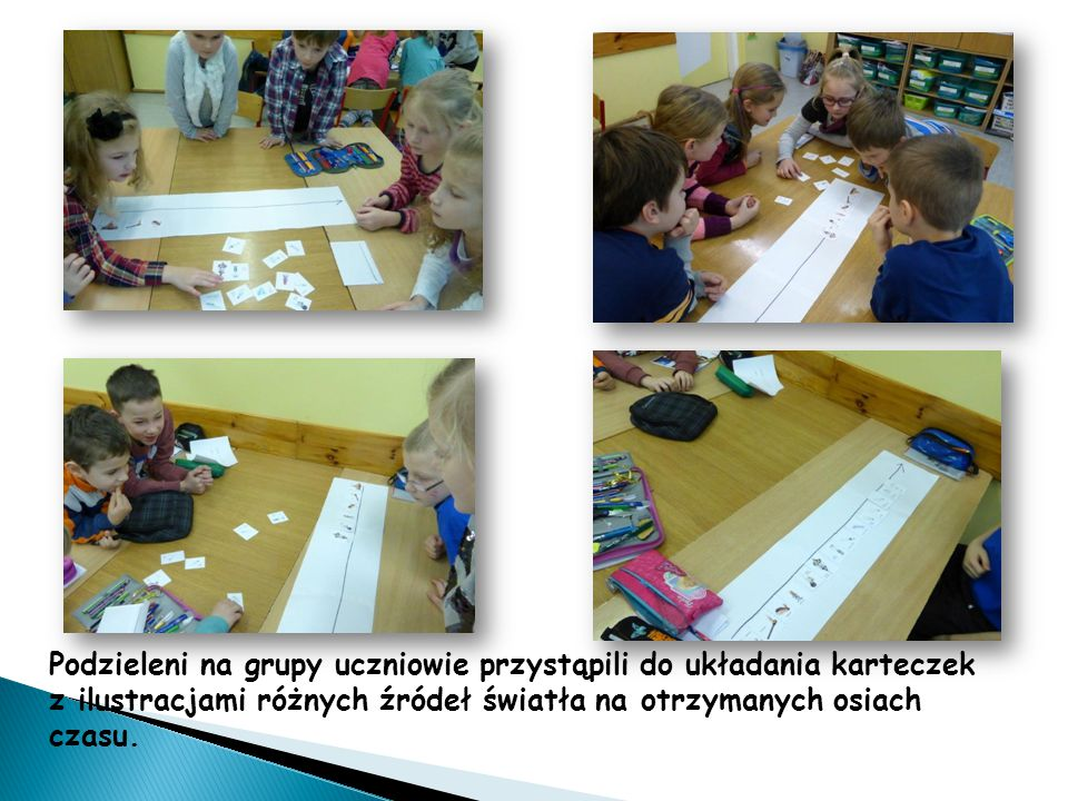 Podzieleni na grupy uczniowie przystąpili do układania karteczek