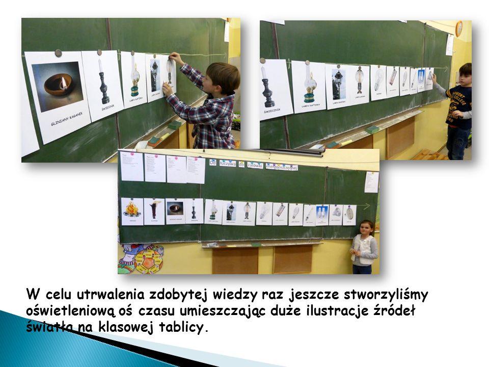 W celu utrwalenia zdobytej wiedzy raz jeszcze stworzyliśmy oświetleniową oś czasu umieszczając duże ilustracje źródeł światła na klasowej tablicy.
