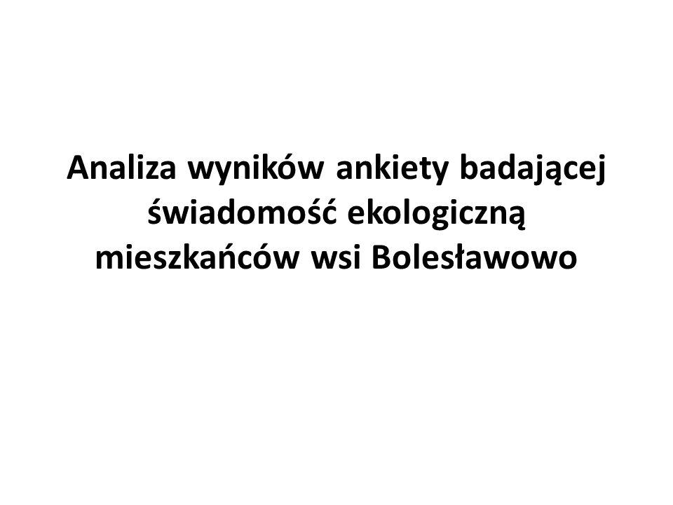 Analiza wyników ankiety badającej świadomość ekologiczną mieszkańców wsi Bolesławowo