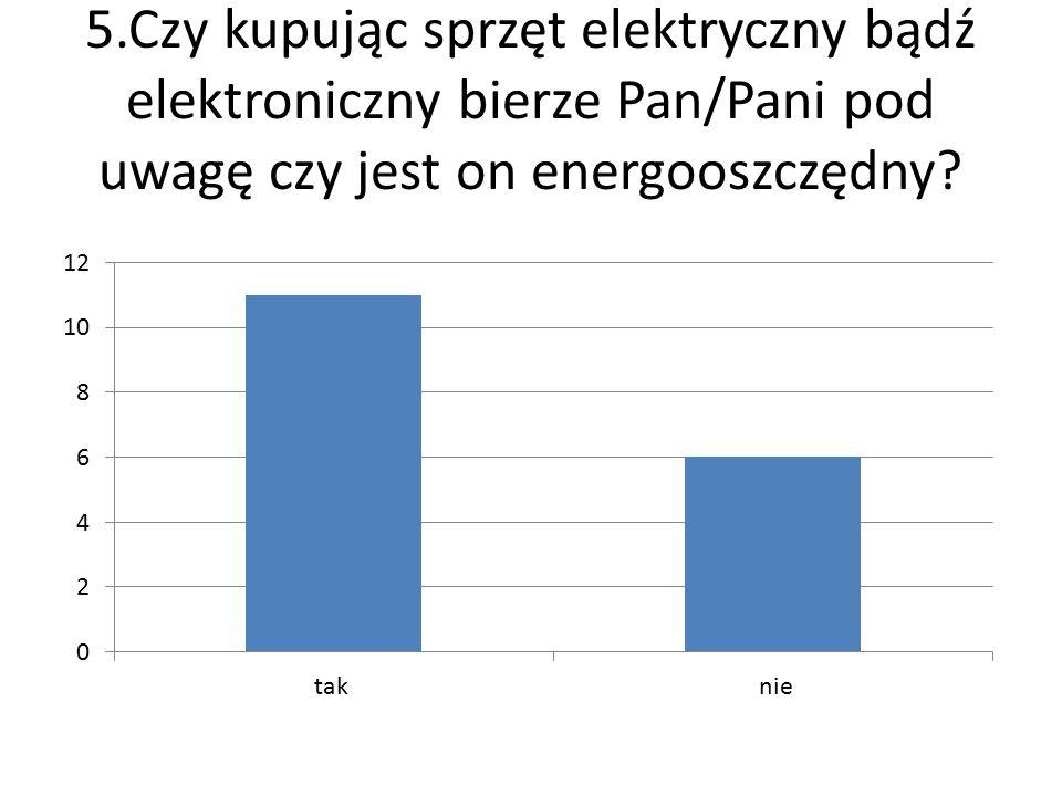 5.Czy kupując sprzęt elektryczny bądź elektroniczny bierze Pan/Pani pod uwagę czy jest on energooszczędny