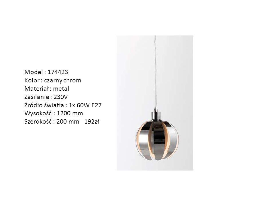 Model : 174423 Kolor : czarny chrom. Materiał : metal. Zasilanie : 230V. Źródło światła : 1x 60W E27.
