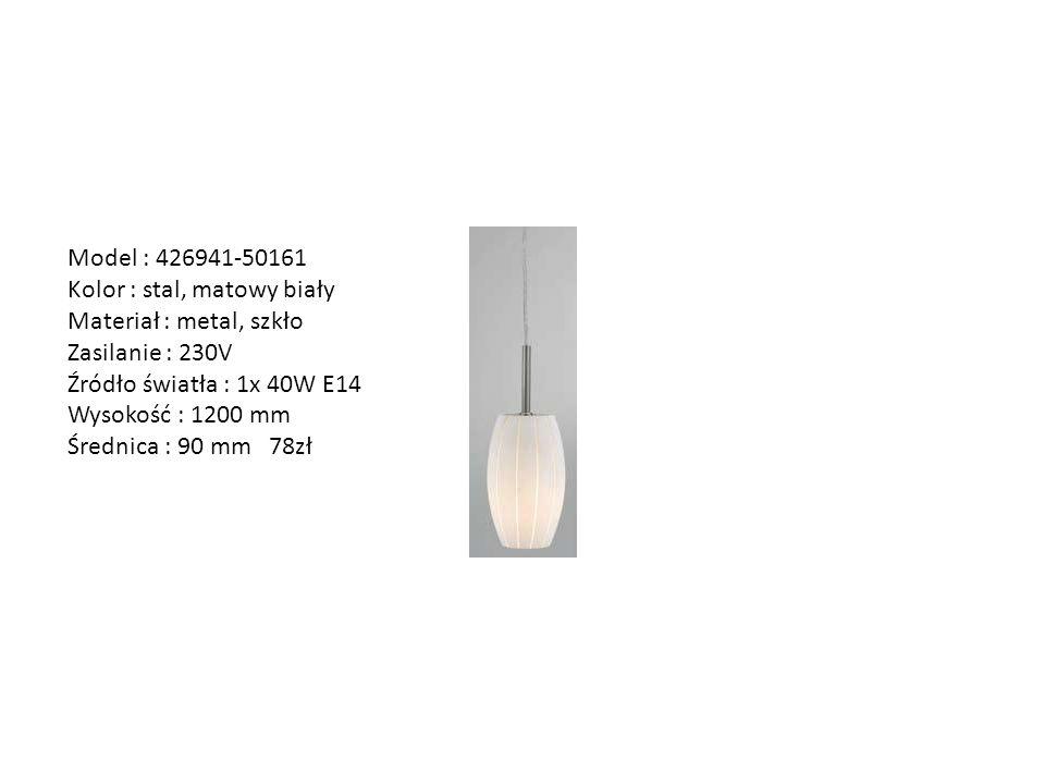Model : 426941-50161 Kolor : stal, matowy biały. Materiał : metal, szkło. Zasilanie : 230V. Źródło światła : 1x 40W E14.