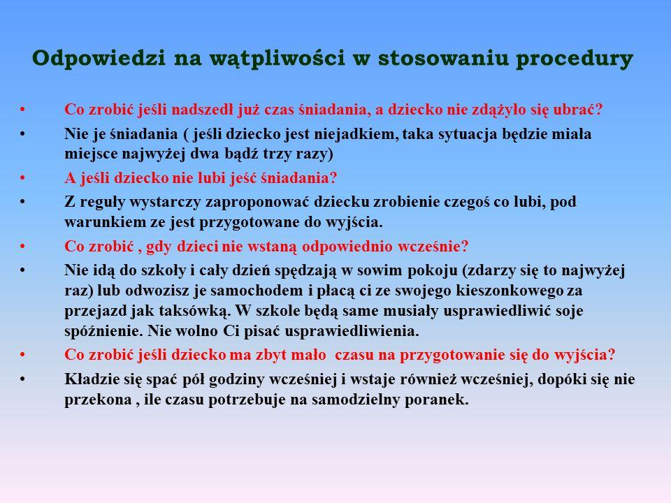Odpowiedzi na wątpliwości w stosowaniu procedury