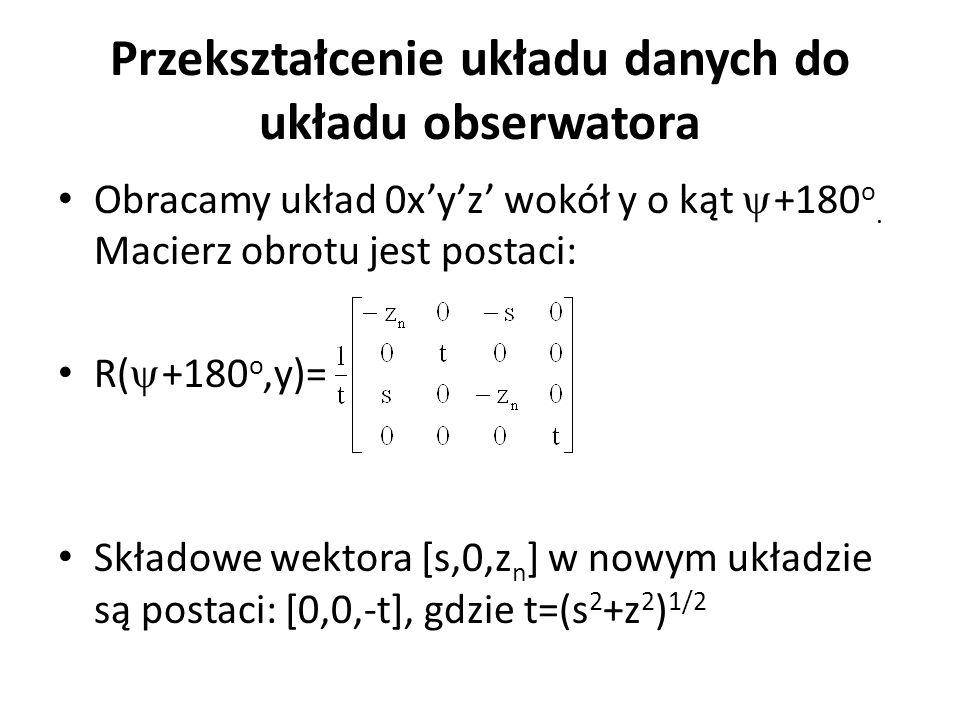 Przekształcenie układu danych do układu obserwatora