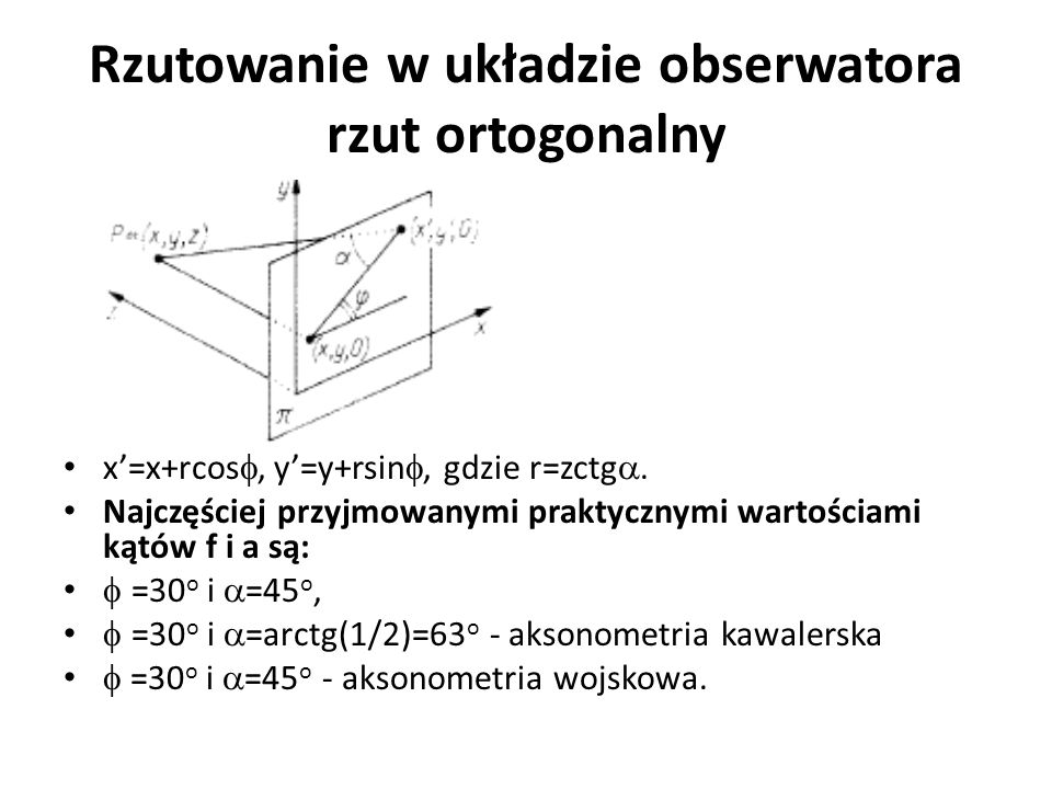 Rzutowanie w układzie obserwatora rzut ortogonalny