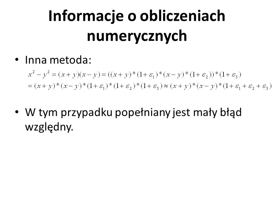 Informacje o obliczeniach numerycznych