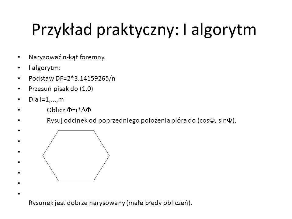 Przykład praktyczny: I algorytm