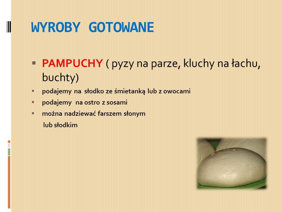 WYROBY GOTOWANE PAMPUCHY ( pyzy na parze, kluchy na łachu, buchty)