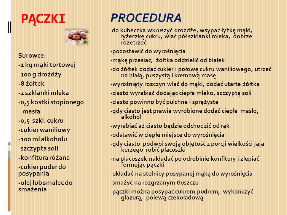PĄCZKI PROCEDURA Surowce: -1 kg mąki tortowej -100 g drożdży -8 żółtek