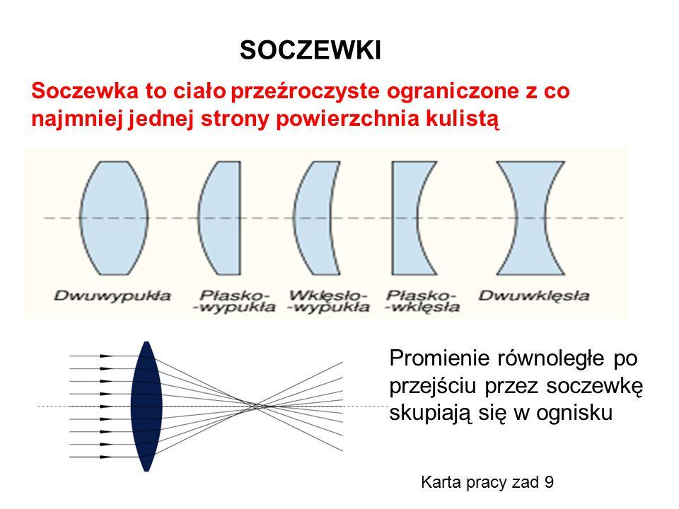SOCZEWKI Soczewka to ciało przeźroczyste ograniczone z co najmniej jednej strony powierzchnia kulistą.