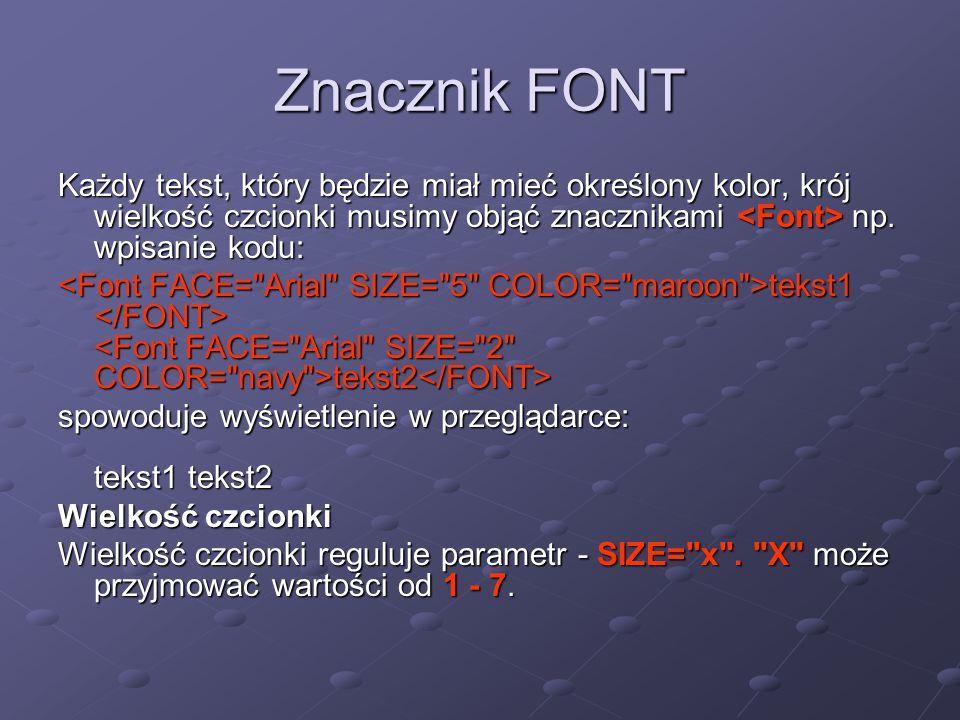 Znacznik FONT Każdy tekst, który będzie miał mieć określony kolor, krój wielkość czcionki musimy objąć znacznikami <Font> np. wpisanie kodu: