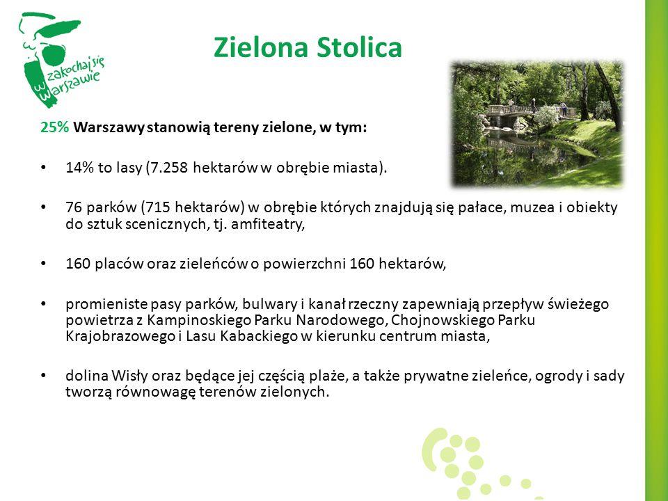 Zielona Stolica 25% Warszawy stanowią tereny zielone, w tym: