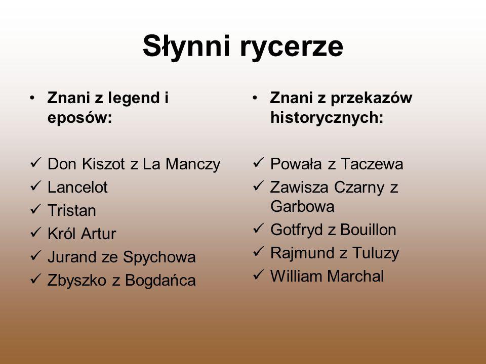 Słynni rycerze Znani z legend i eposów: Don Kiszot z La Manczy