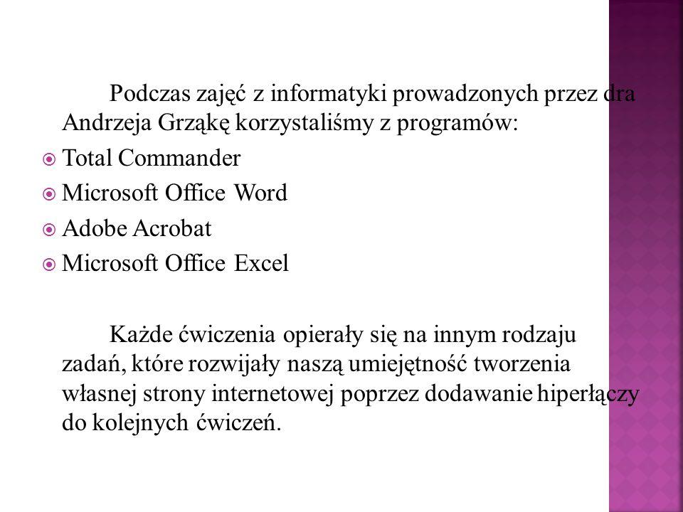 Podczas zajęć z informatyki prowadzonych przez dra Andrzeja Grząkę korzystaliśmy z programów: