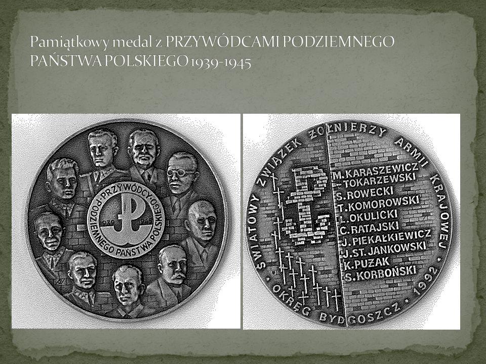 Pamiątkowy medal z PRZYWÓDCAMI PODZIEMNEGO PAŃSTWA POLSKIEGO 1939-1945