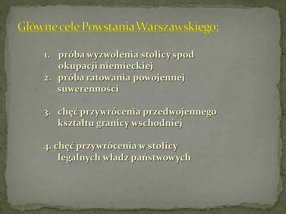Główne cele Powstania Warszawskiego: