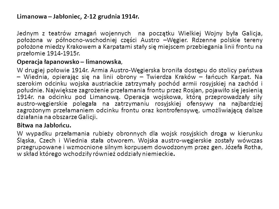 Limanowa – Jabłoniec, 2-12 grudnia 1914r