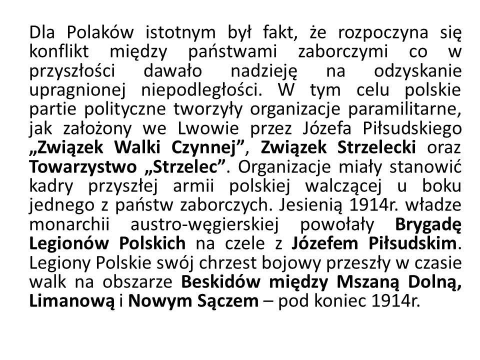 Dla Polaków istotnym był fakt, że rozpoczyna się konflikt między państwami zaborczymi co w przyszłości dawało nadzieję na odzyskanie upragnionej niepodległości.