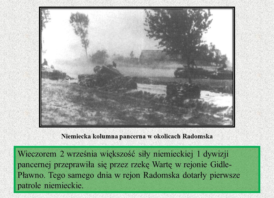 Niemiecka kolumna pancerna w okolicach Radomska