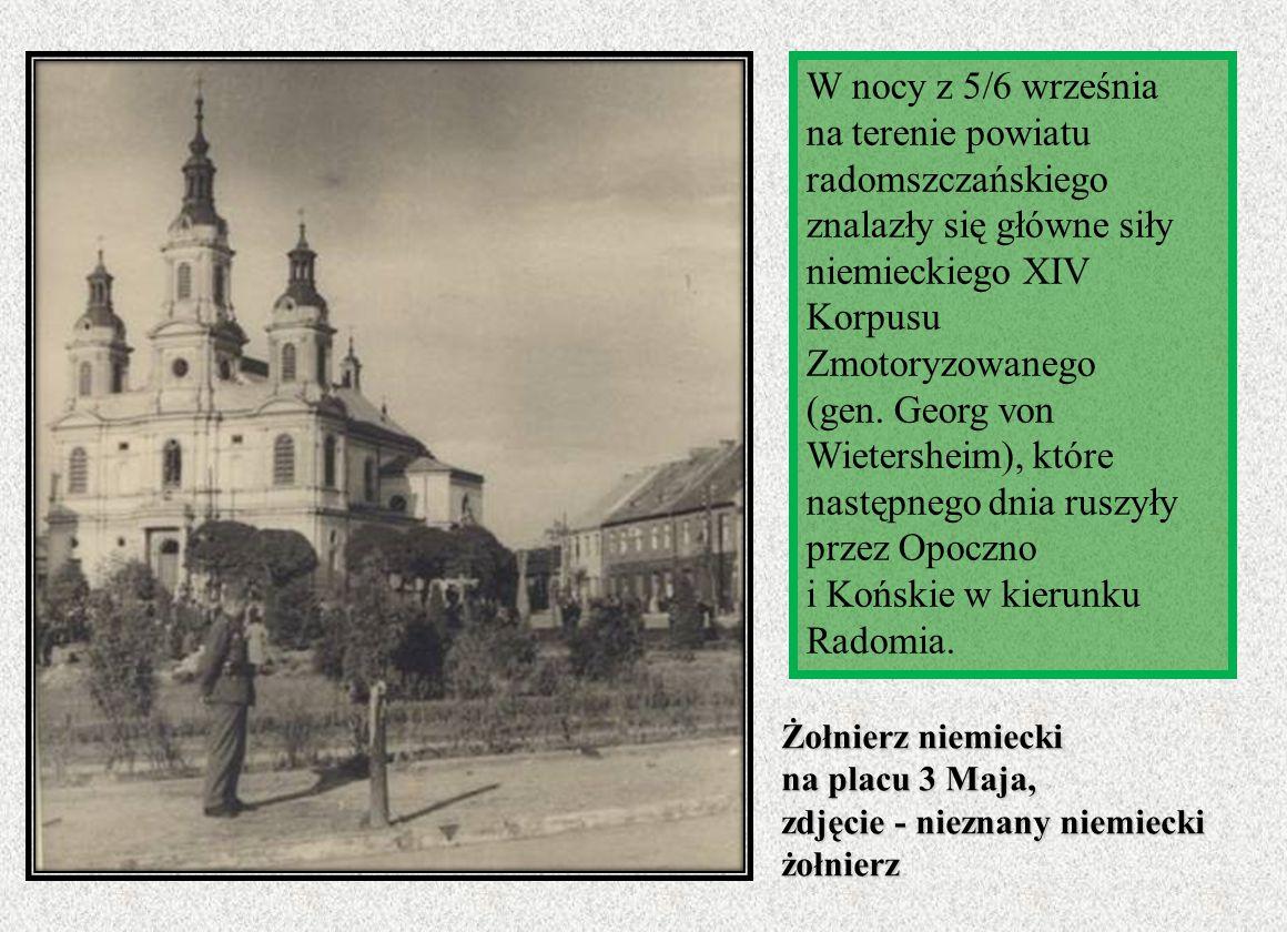 W nocy z 5/6 września na terenie powiatu radomszczańskiego znalazły się główne siły niemieckiego XIV Korpusu Zmotoryzowanego (gen. Georg von Wietersheim), które następnego dnia ruszyły przez Opoczno i Końskie w kierunku Radomia.