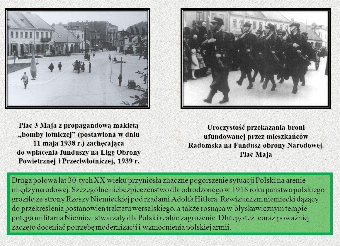 Uroczystość przekazania broni ufundowanej przez mieszkańców Radomska na Fundusz obrony Narodowej. Plac Maja