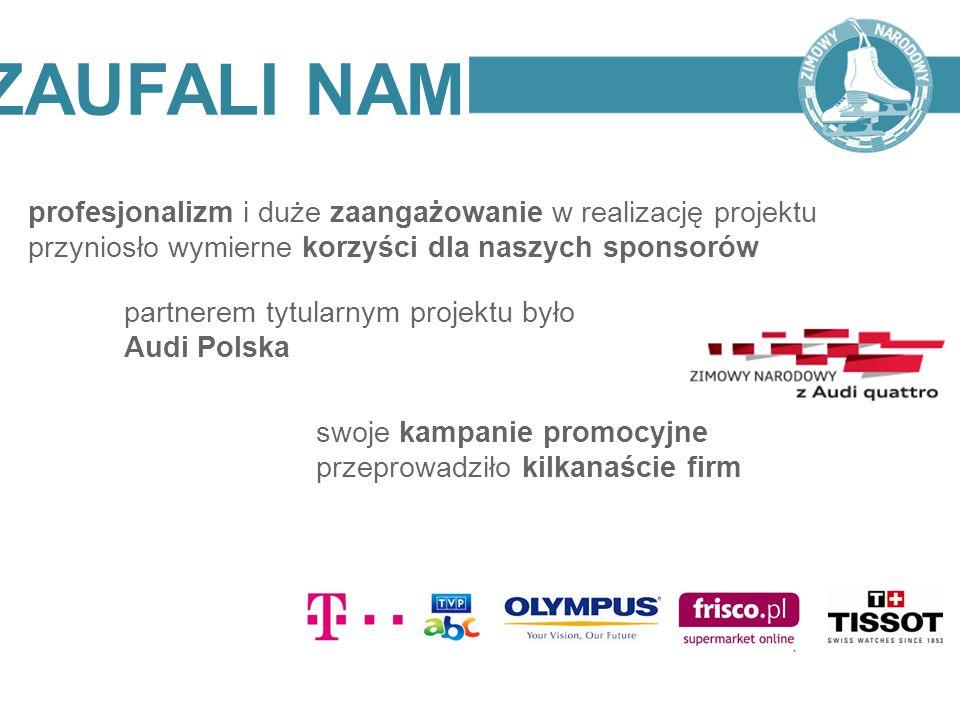 ZAUFALI NAM profesjonalizm i duże zaangażowanie w realizację projektu przyniosło wymierne korzyści dla naszych sponsorów.