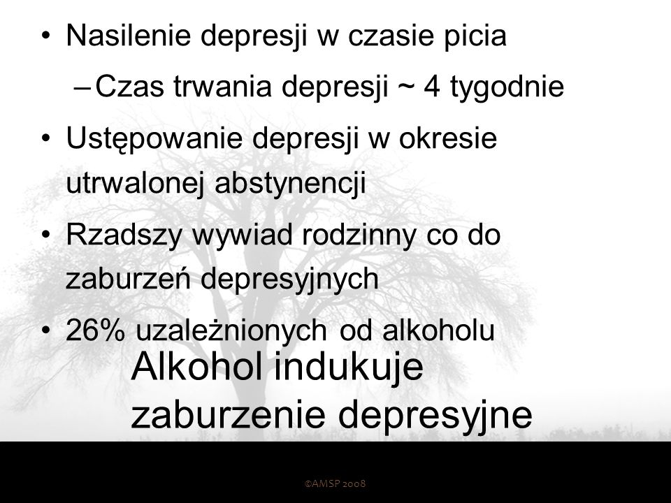 Alkohol indukuje zaburzenie depresyjne