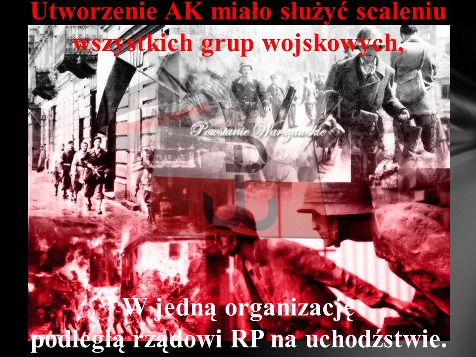 Utworzenie AK miało służyć scaleniu wszystkich grup wojskowych,