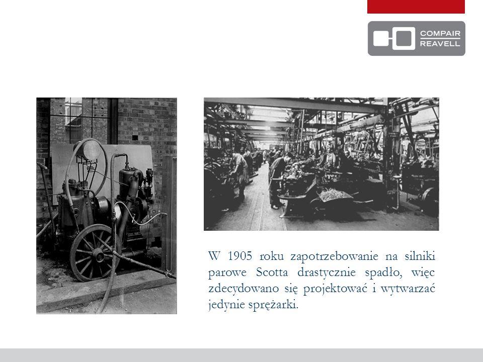 W 1905 roku zapotrzebowanie na silniki parowe Scotta drastycznie spadło, więc zdecydowano się projektować i wytwarzać jedynie sprężarki.