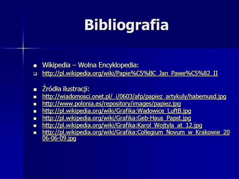 Bibliografia Wikipedia – Wolna Encyklopedia: Źródła ilustracji: