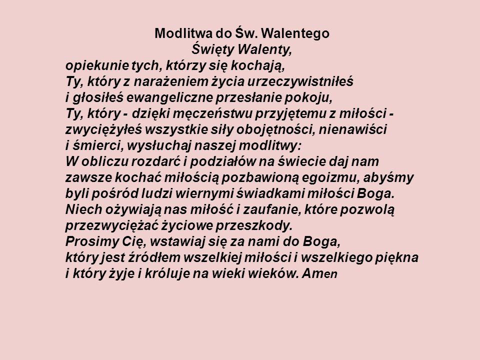 Modlitwa do Św. Walentego