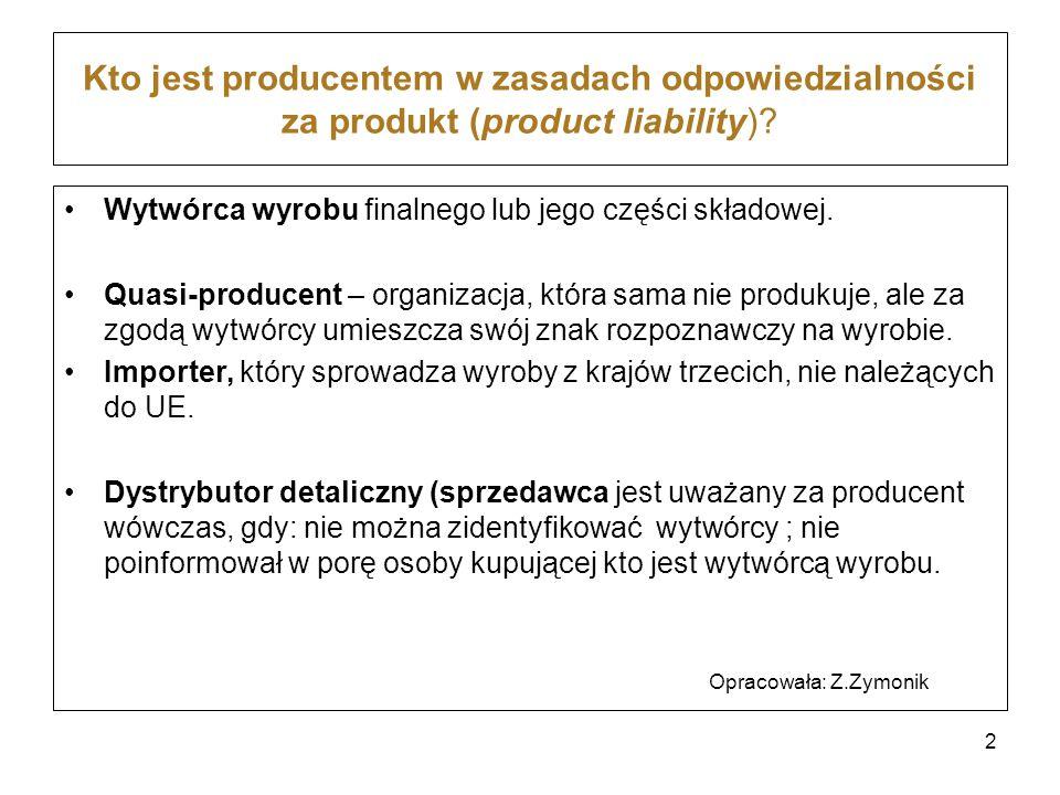 Kto jest producentem w zasadach odpowiedzialności za produkt (product liability)