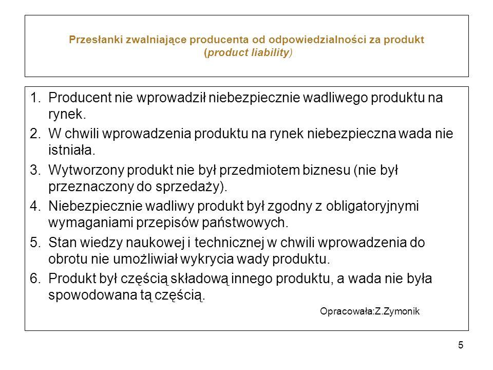 Producent nie wprowadził niebezpiecznie wadliwego produktu na rynek.