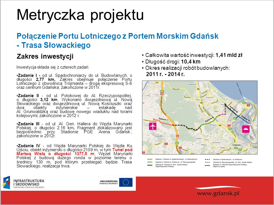 Metryczka projektu Połączenie Portu Lotniczego z Portem Morskim Gdańsk - Trasa Słowackiego. Zakres inwestycji.