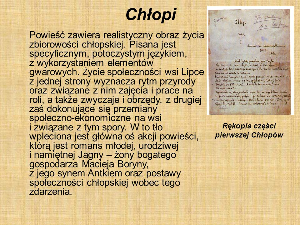 Rękopis części pierwszej Chłopów