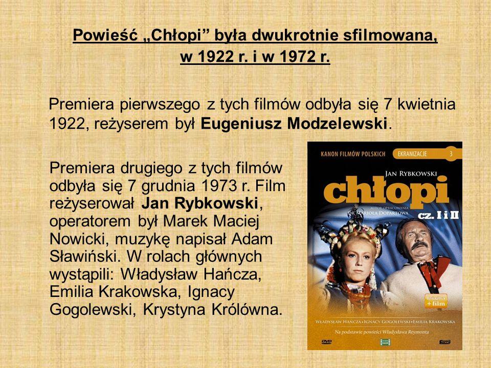 """Powieść """"Chłopi była dwukrotnie sfilmowana, w 1922 r. i w 1972 r."""
