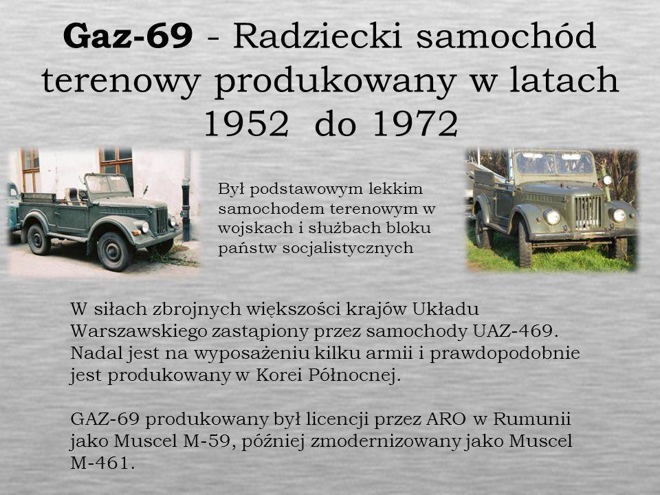 Gaz-69 - Radziecki samochód terenowy produkowany w latach 1952 do 1972