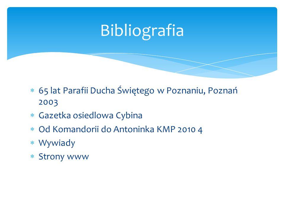 Bibliografia 65 lat Parafii Ducha Świętego w Poznaniu, Poznań 2003